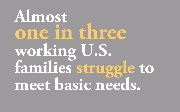 One in three families struggle to meet basic needs